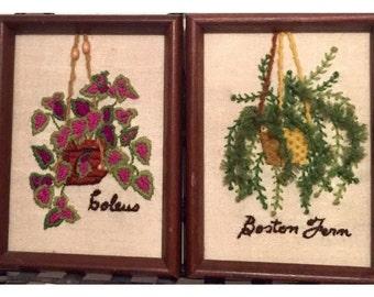 vintage plant needlepoints