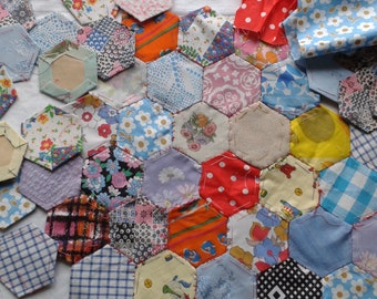 An Assortment of Vintage Cotton Hexagons
