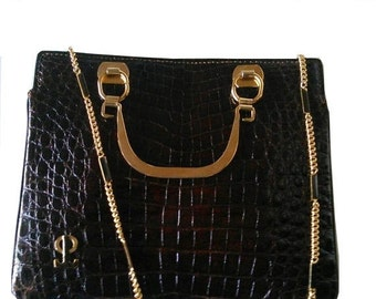 PISK Bueno Aires  Vintage  1960 crocodile   leather brown and gold details