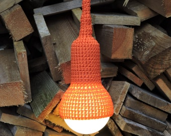 Lampe, garden pendant, crocheted in bright orange, 6 meter cord