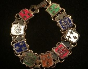 Vintage Enameled Fleur di Lis & Lion Coat of Arms Panel Bracelet