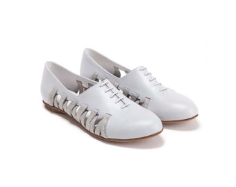 SALE 30% Off / Flats, Lace Up Shoes , Oxford Shoes, Summer Shoes, Leather Shoes, Handmade Shoes,  Women Shoes // Free Shipping