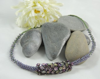 Violet Days - Kumihimo, Seed Beads and Glass Flowers Statement Necklace