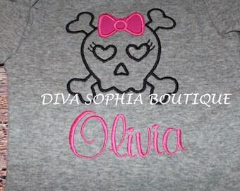 Personalized Girl Skull Onesie/ T-shirt