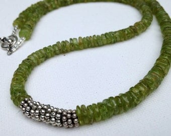 Peridot and silver discs