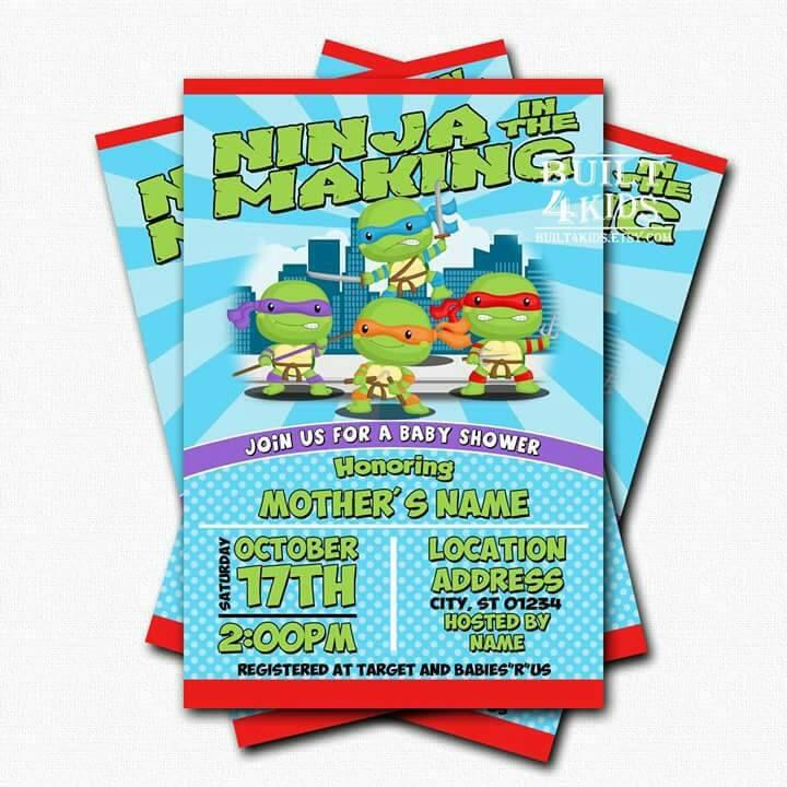 baby ninja turtle baby shower invitation digital prints
