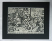 1950s Vintage Pieter Bruegel Print of an Alchemist's Laboratory, Alchemy Gift for Chemist Available Framed Gold Art Medieval Chemistry Decor
