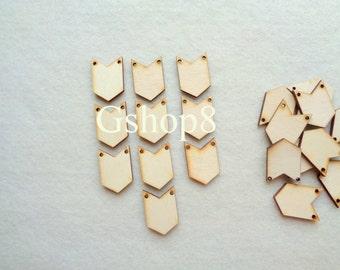 10 Wood Chevron, Unfinished Wood Chevron, Geometric Jewelry,