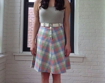 70s Plaid Button-Up Skirt with Belt