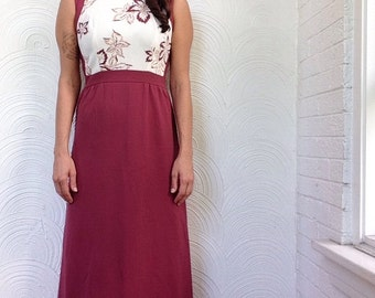 1970s Leaf Print Maxi Dress