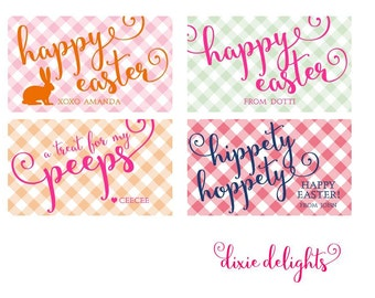 Monogrammed Personalized Easter Gift Tags / Cards / Stickers