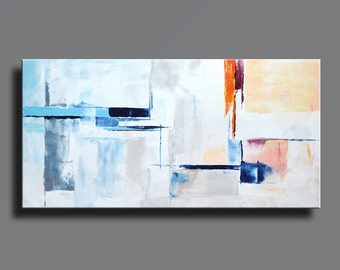 ABSTRACT PAINTING White Blue Orange Gray Painting Original Painting Canvas Art Modern Acrylic Painting 48x24 Wall Art - Unstretched - 21C