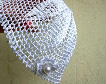 Handmade crochet baby girl, newborn, kids  cotton hat, white with flower, pearl bead, with sizes, christening, baptism