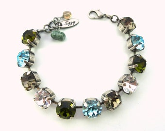 Crystal Tennis Bracelet, 11mm (47ss) Chatons, Olive green, Aqua Blue, Black Diamond, Clear, Chunky Large Stones, Cool Colors, FREE SHIPPING