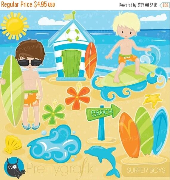 80% OFF SALE beach clipart Surfer boys by Prettygrafikdesign