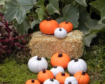 3 Miniature Pumpkins Fairy Garden, Hay Bale, Terrarium Supplies, Fall  Pumpkins, Halloween
