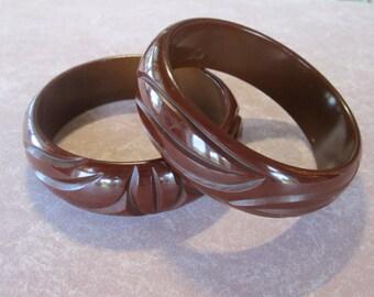 Carved Vintage Bakelite Bracelet Set