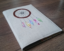 Dreamcatcher Notebook - Dream Journal - Notebook - Embroidered Notebook Cover - Applique - Free Motion Embroidery - Fabric Notebook Cover