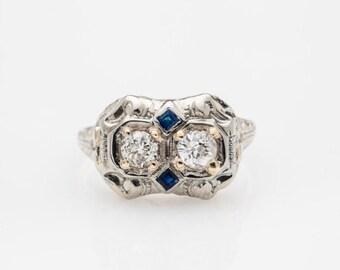 1920's Art Deco Sapphire and Diamond Engagment Ring