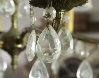 Antique Chandelier Glass  Drop  Prism Crystal French Country Farmhouse Chic