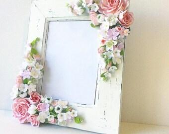 Wedding frame for wedding photo.   Polymer clay flower.