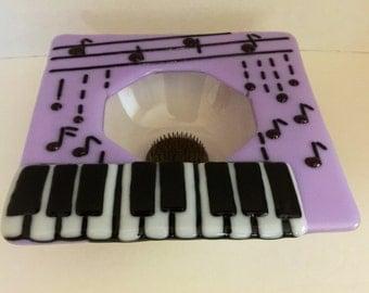 Purple Rain - purple notes rain onto a musical keyboard fused glass Ikebana vase