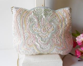 White Beaded Evening Bag - Vintage White Clutch Bag - Wedding Bridal - Sparkly White Purse EB-0631