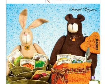 Kwik Sew 4007, K4007 Bear and Bunny Baskets, New Uncut Sewing Pattern for Bunny and Bear Baskets