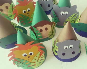 Jungle Themed Birthday Party Hats