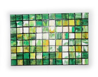 """Green mosaic small Original Painting Abstract Art 34 Midcentury Modern by KSAVERA 8""""x12"""" Little paintings on canvas birthday for mom her"""