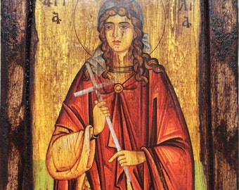 Saint St. Julia - Orthodox icon on wood handmade (22.5cm x 17cm)