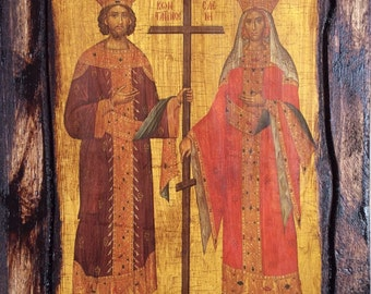 Saint St. Constantine & Saint St. Helen (full body) - Orthodox Byzantine icon on wood handmade (22.5 cm x 17 cm)