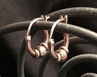 Sterling Silver Beaded Hoop Earrings (st - 1453)