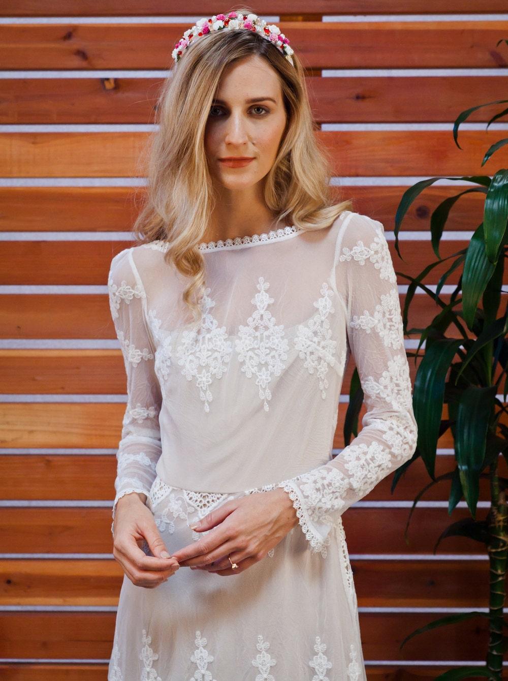 Lisa Lace Bohemian Wedding Dress Cotton Lace By