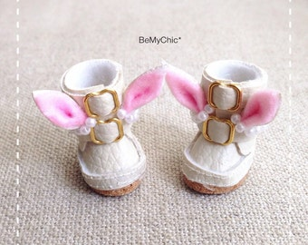 Cute Handmade Animal Shoes for Blythe Lati Yellow Pukifee Doll - Lovely Rabbit Cream