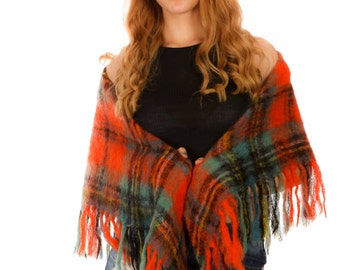 Vintage orange red tartan plaid mohair blanket scarf shawl /wrap festival wear