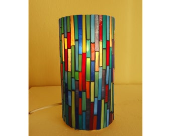 Table lamp, Striped colorful mosaic table lamp, stained glass lighting, mosaic lamp