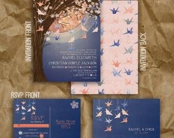 Paper Crane Moon Wedding Invitation // Navy and Peach // Sakura Tree