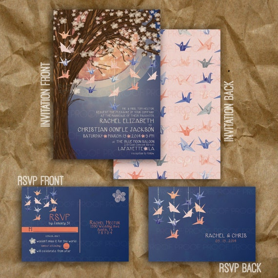 Origami Wedding Invitations: Paper Crane Moon Wedding Invitation // Navy And Peach