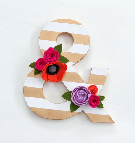 Gold and White Wood Ampersand with Felt Flowers - Home Decor