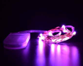 Purple Fairy Lights LED String Light Button Cell Battery Operated 6 ft in length with 20 LEDs