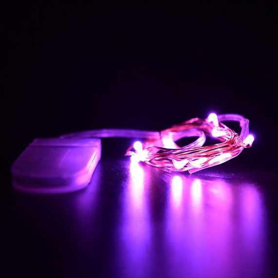 Purple Fairy Lights LED String Light Button Cell Battery