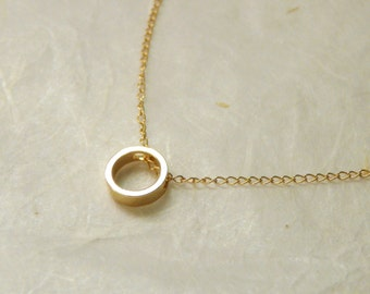 Delicate circle necklace, Karma necklace, Gold circle necklace, Minimalist necklace, Layering necklace, Tiny pendant necklace, Gold necklace