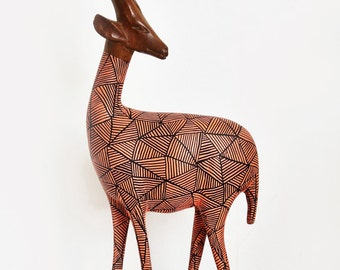 SOLD! - Vintage Retro Upcycled Wooden African Hand Carved Hipster Gazelle Antelope - SOLD