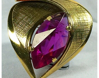 Gold and Hot Pink, Fuscia, Vintage Brooch