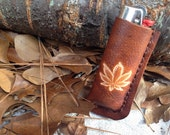 handmade leather bic lighter case with hemp stamp