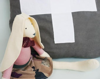 Handcrafted Doll Rabbit Tilda Bunny Girl Large Stuffed Animal Lampshade Printed Skirt, Dusky Pink Body and Tartan Scarf  British UK Maker