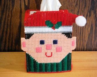 Christmas Elf Tissue Box Cover // Needlepoint Tissue Holder // Needlepoint on Plastic Canvas // Christmas Gift // Santa's Helpers