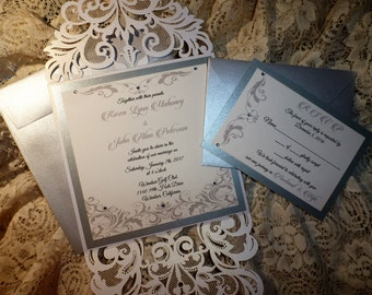 "Pearl White Laser Cut Pocket Wedding Invitation ( sample ) -"" Elegant Wedding """