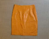 1980's, high waist, leather, mini skirt, in toffee brown, Women's size 4